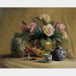 Lynn Nelsen Aylsworth (American, 20th/21st Century)      Still Life with Vase and Teapot