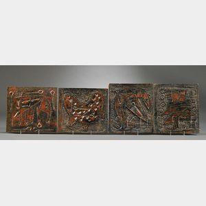 Four Bruno Capacci Decorated Tiles