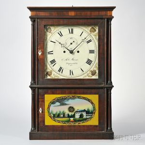 Miles Morse Four-column Mahogany Shelf Clock