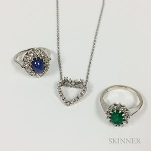 Three Pieces of 14kt White Gold Jewelry