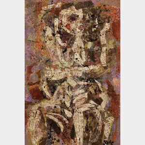Karl Zerbe  (American, 1903-1972)      Sitting Woman Variation #I
