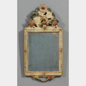 Gesso Polychrome and Gilt Carved Mirror