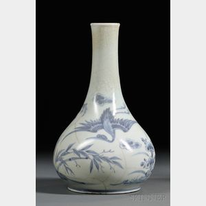 Blue and White Wine Bottle