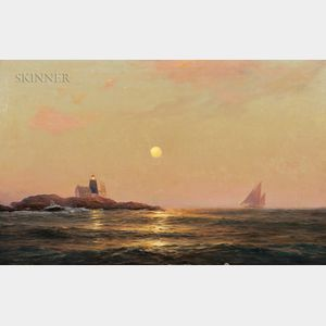 Warren Sheppard (American, 1858-1937)      Moonlight Sailing, Saddleback Ledge Light Station, Maine