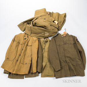 Four WWI Tunics and an Overcoat