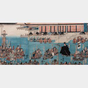 Utagawa Kuniyoshi (1797-1861), Triptych Woodblock Print