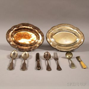 Nine Silver and Silver-plated Flatware and Serving Pieces