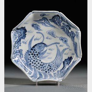 Blue and White Molded Edge Bowl
