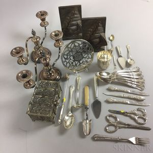 Group of Mostly Silver-plate Tableware Items.