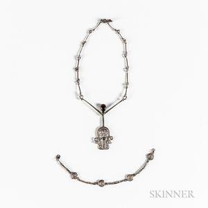 Gordon Lawrie Sterling Silver Gem-set Necklace and a Silver Bracelet