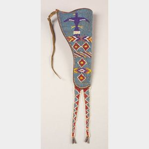 Rare Southern Plains Beaded Leather Holster