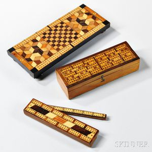 Three Geometric Inlaid Cribbage Boards