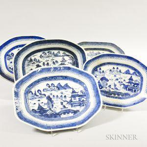 Five Small Canton Porcelain Octagonal Platters