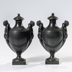 Pair of Wedgwood & Bentley Black Basalt Vases and Covers