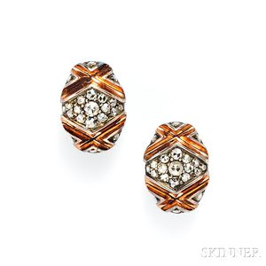 Blackened Silver, Rose Gold, and Rose-cut Diamond Earclips, Marilyn Cooperman