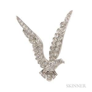 Platinum and Diamond American Eagle Brooch, Tiffany & Co.
