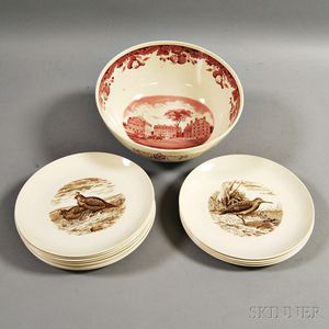 Large Wedgwood Ceramic Harvard Punch Bowl and a Set of Twelve Copeland Spode Bird Plates.