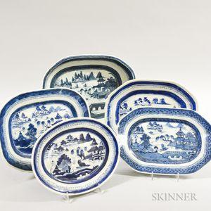 Five Canton Porcelain Platters