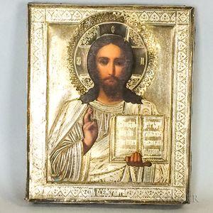 Russian Icon with Silver Riza