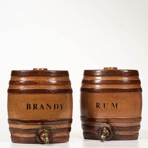 """""""Rum"""" and """"Brandy"""" Stoneware Kegs"""