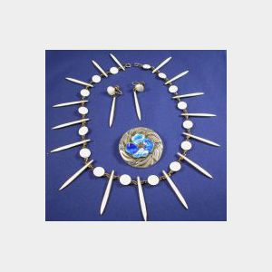 Silver Gilt and Enamel Necklace and Earpendants, David Andersen
