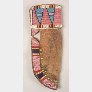 Northern Plains Beaded and Tacked Hide Knife Sheath