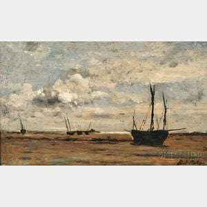 Karl Daubigny (French, 1846-1886)      Sailing Vessels Beached at Low Tide