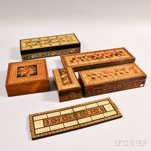 Six Tunbridgeware Items Including Five Cribbage Boards or Cribbage Board/Boxes