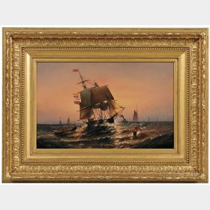 Elisha Taylor Baker (New York/Connecticut, 1827-1890)      Sunrise, from Shore to Ship