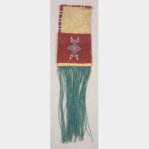 Rare Comanche Beaded Hide Pipe Bag