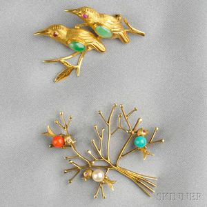 Two 14kt Gold Gem-set Bird Brooches