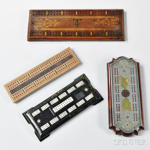 Four Cribbage Boards of Various Design