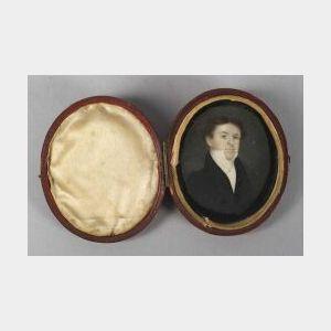 American School, 19th Century  Miniature Portrait of a Gentleman.