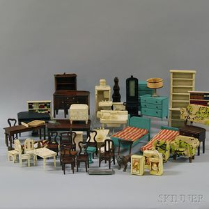 Group of Miscellaneous Mostly Painted Wooden Dollhouse Furniture