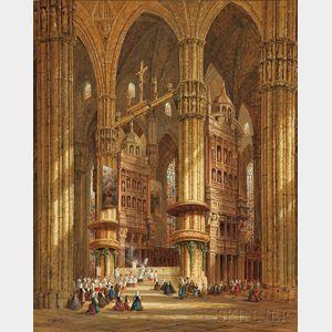 Heinrich Hermann Schafer (German, 1815-1884)      Cathedral Interior - Milan