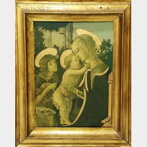 Framed Madonna and Child Print with Gilt Accents