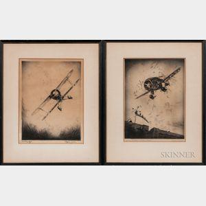 Wayne Davis (American, 1904-1988)    Two Airplane Etchings