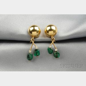 14kt Gold, Emerald Bead, and Diamond Earpendants