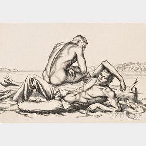 Paul Cadmus (American, 1904-1999)      Two Boys on a Beach, No. 2