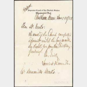 Brandeis, Louis (1856-1941) Autograph Letter Signed, Chatham, Massachusetts, 28 June 1938.