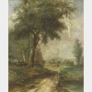 British School, 19th Century  Lot of Two Paintings Including:  Country Farm