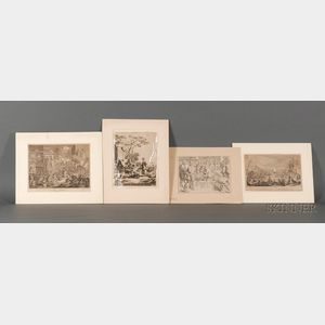 Group of Old Master Prints: Including Works by or After Jacques Callot (French, 1592-1635), Frans Hals (Dutch, 1580-1666), William Hoga