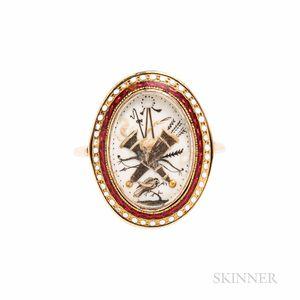 Georgian Gold and Enamel Sentimental Ring