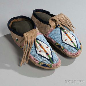 Crow Beaded Hide Moccasins