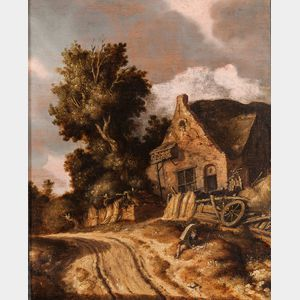 Dutch School, 19th Century      Cart Path with Resting Figure Reading in Front of a Cottage