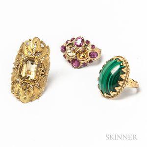 Three Gold Gem-set Rings