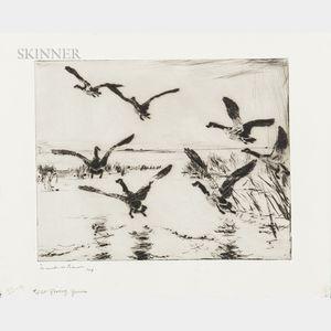 Frank Weston Benson (American, 1862-1951)      Rising Geese