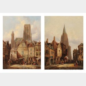 Heinrich Hermann Schafer (German, 1815-1884)    Two Village Square Scenes