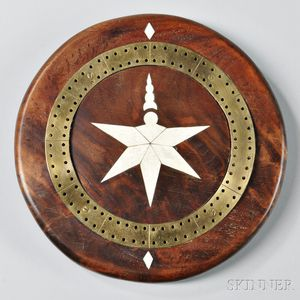 Circular Mahogany Brass- and Bone-inlaid Game Board