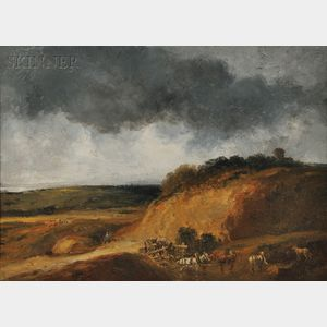Georges Michel (French, 1762-1843)      Harvest Under Stormy Skies
